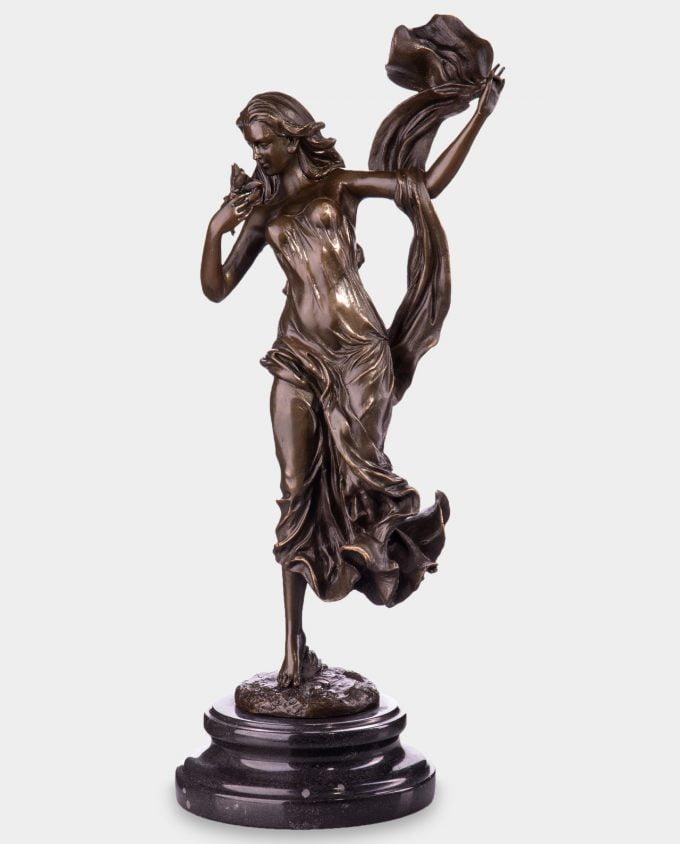 Kobieta z Kwiatem Rzeźba z Brązu