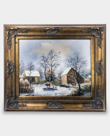 Obraz Gospodarstwo Wiejskie Zimą