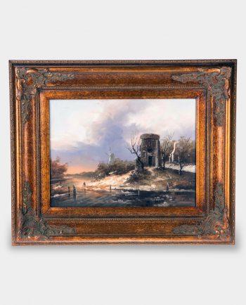 Obraz Pejzaż Rzeczny z Wiatrakiem